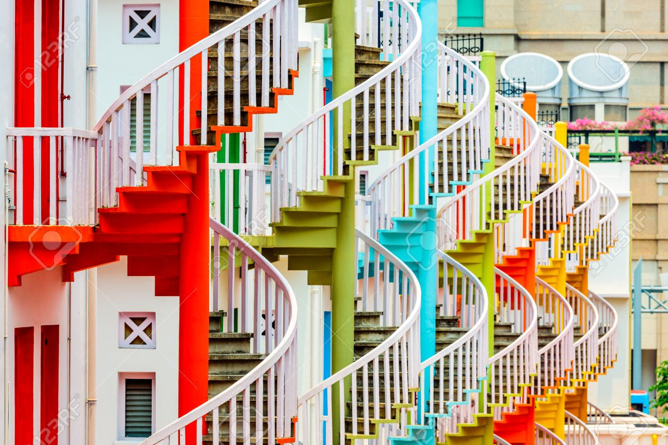 ... stairwell; fire escape; colorful; color; architecture; asia; asian; malay; malaysia; apartments; stores; shops; exit; entrance; front door; backdoor; ...  sc 1 st  123RF.com & Bugis Village; Bugis; Singapore; Stairs; Spiral Staircase; Staircase ...