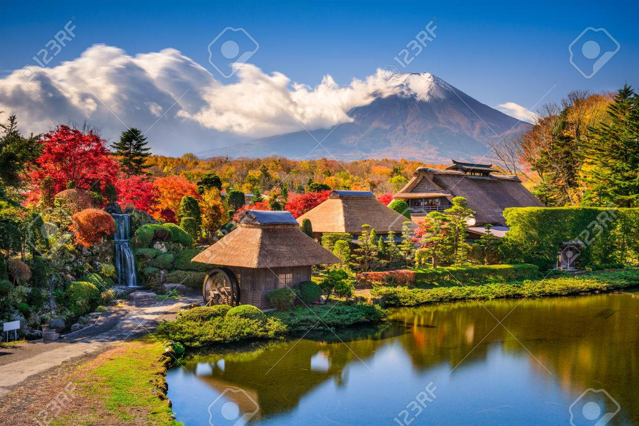 Oshino, Japan historic thatch houses with Mt. Fuji in the background. - 50257149