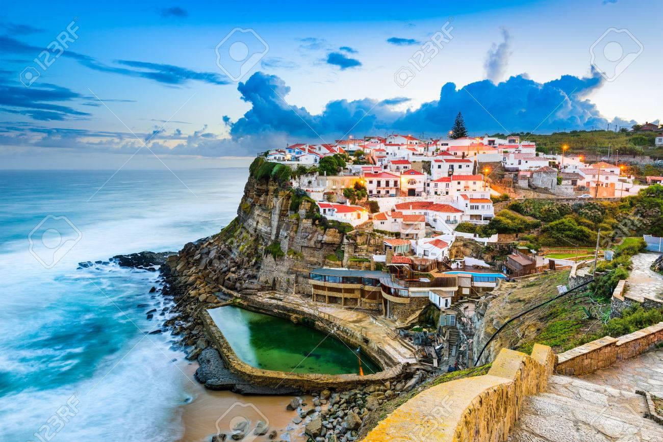 Azenhas do Mar, Portugal coastal town. - 55501534