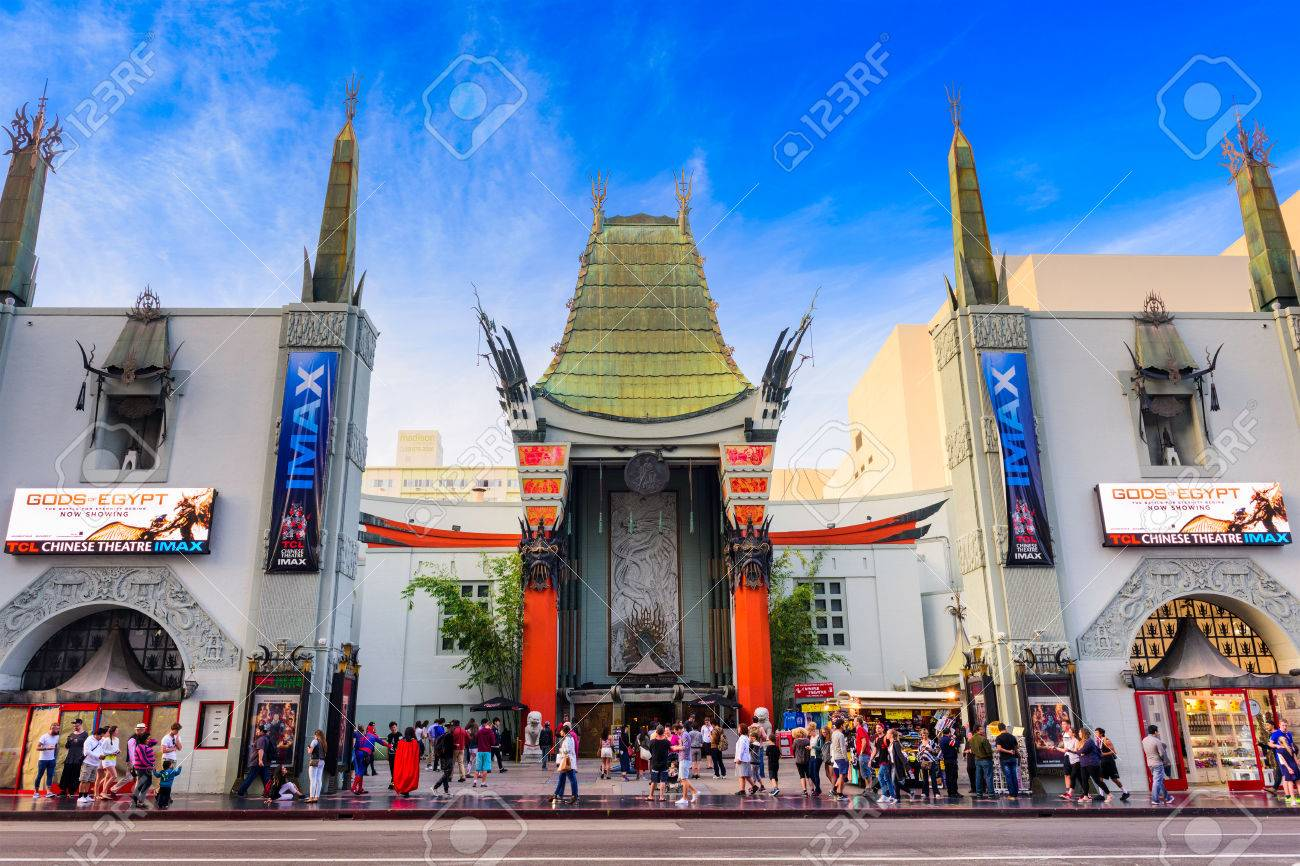 LOS ANGELES, CALIFORNIA - MARCH 1, 2016: Grauman's Chinese Theater on Hollywood Boulevard. The theater has hosted numerous premieres and events since it opened in 1927. - 54987466