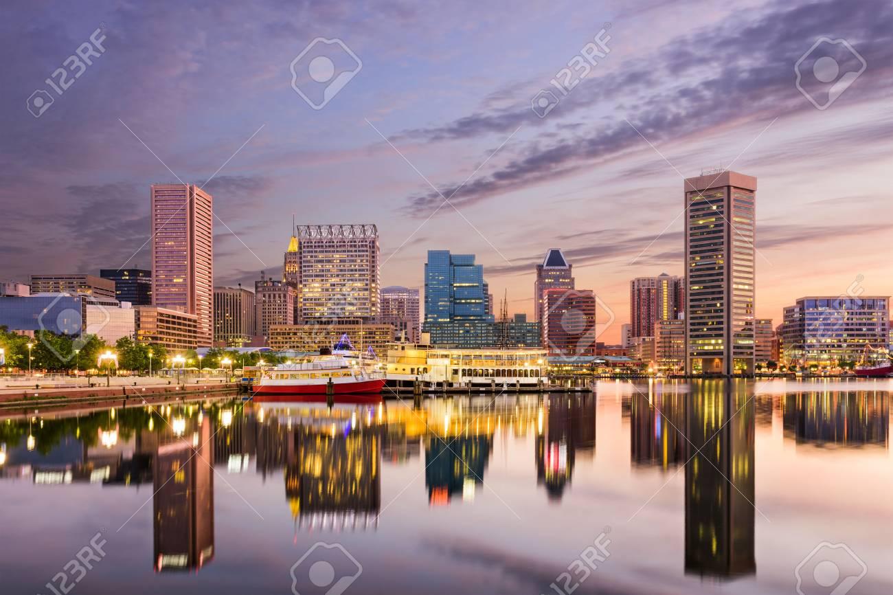 Baltimore, Maryland, USA skyline at the Inner Harbor. - 59289434