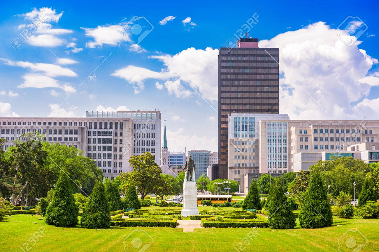 Baton Rouge, Louisiana, USA cityscape from the State Capitol grounds. - 62645706