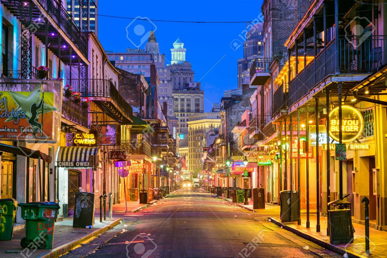 NEW ORLEANS, LOUISIANA - MAY 10, 2016: Bourbon Street in the early morning. The renown nightlife destination is in the heart of the French Quarter. - 60446696