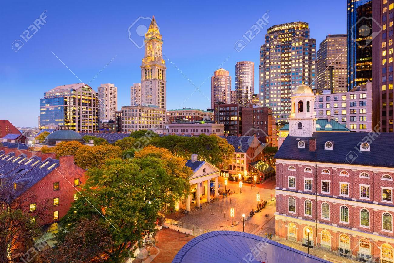 Boston, Massachusetts, USA downtown cityscape. - 66953060