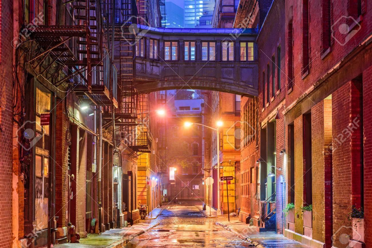 Alley in the Tribeca neighborhood in New York City. - 69749834
