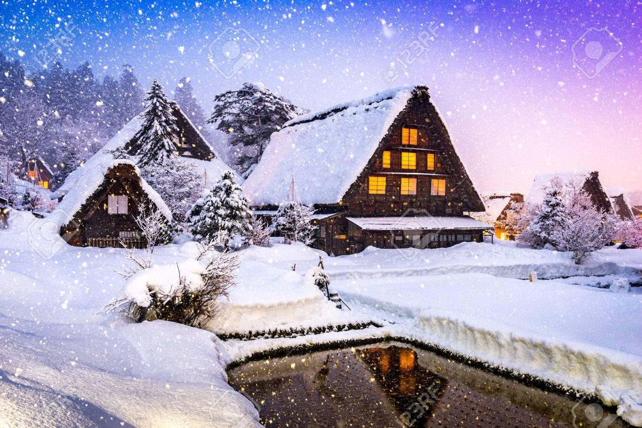 Shirakawago, Japan historic winter village. - 79479719