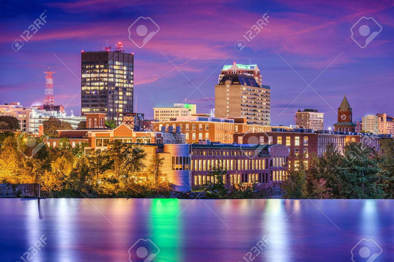 Manchester And Photo Royalty River Free Stock Image Skyline New On 79425321 The Image Usa Merrimack Hampshire Picture