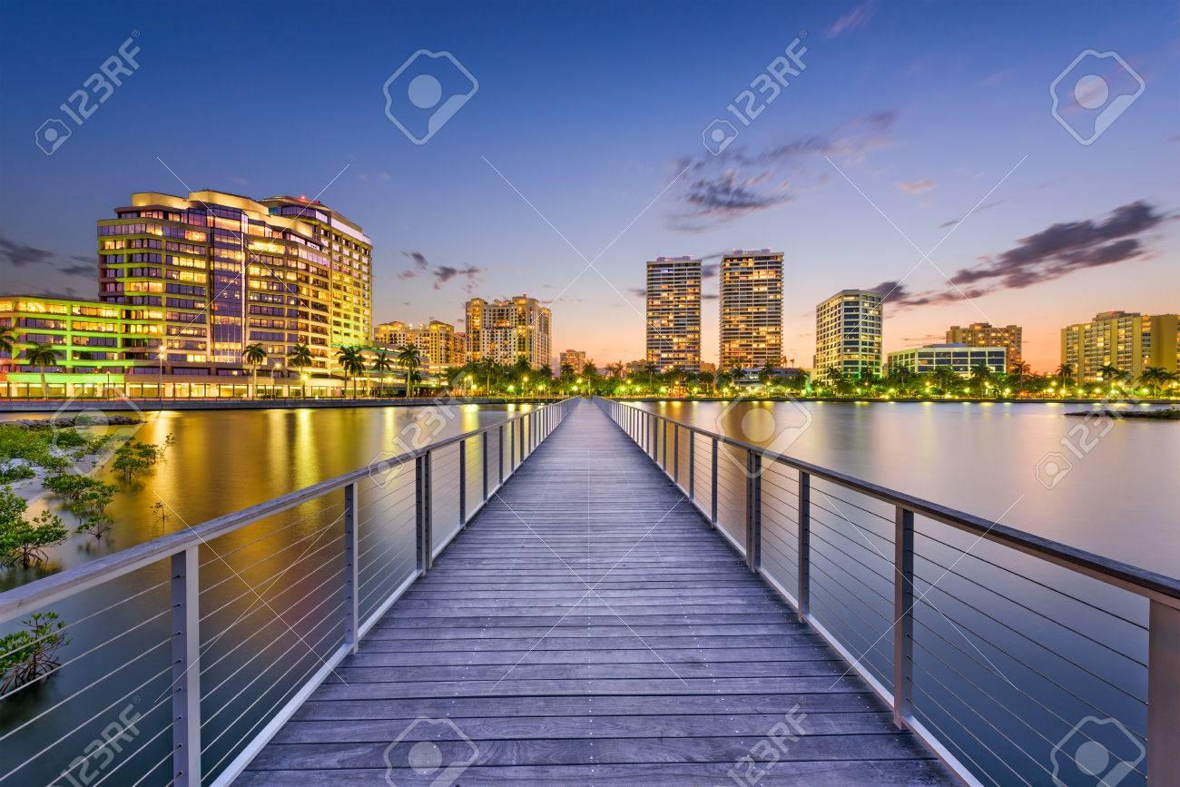 West Palm Beach, Florida, USA downtown skyline on the intracoastal waterway. - 79478664