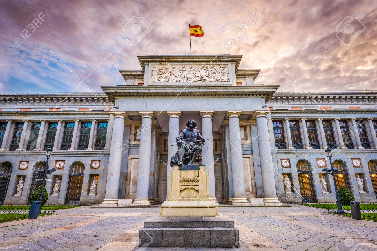 MADRID, SPAIN - NOVEMBER 18, 2014: The Prado Museum facade. Established in 1819, the museum is considered the best collection of Spanish art and one of the world's finest collections of European art. - 81825908