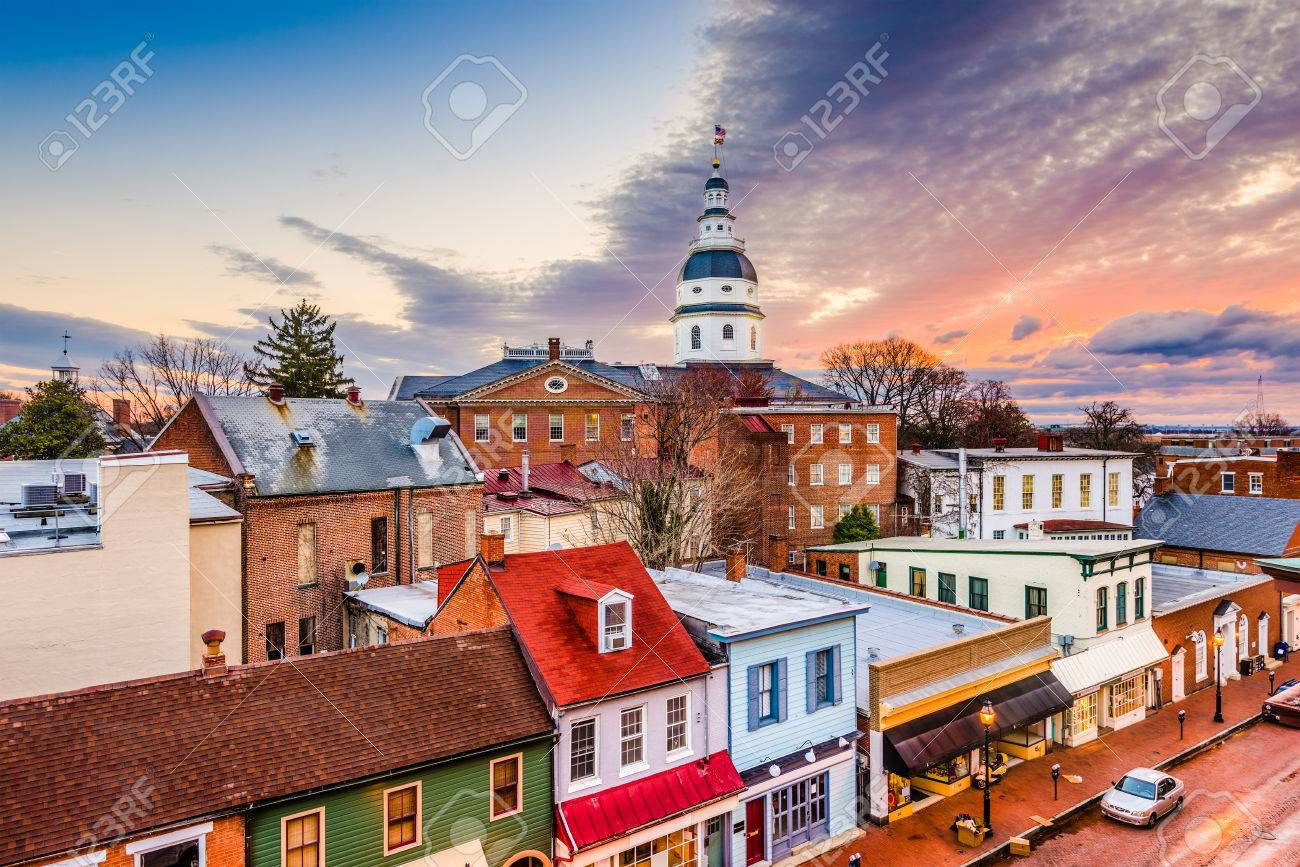 Annapolis Maryland Usa Downtown View Over Main Street With