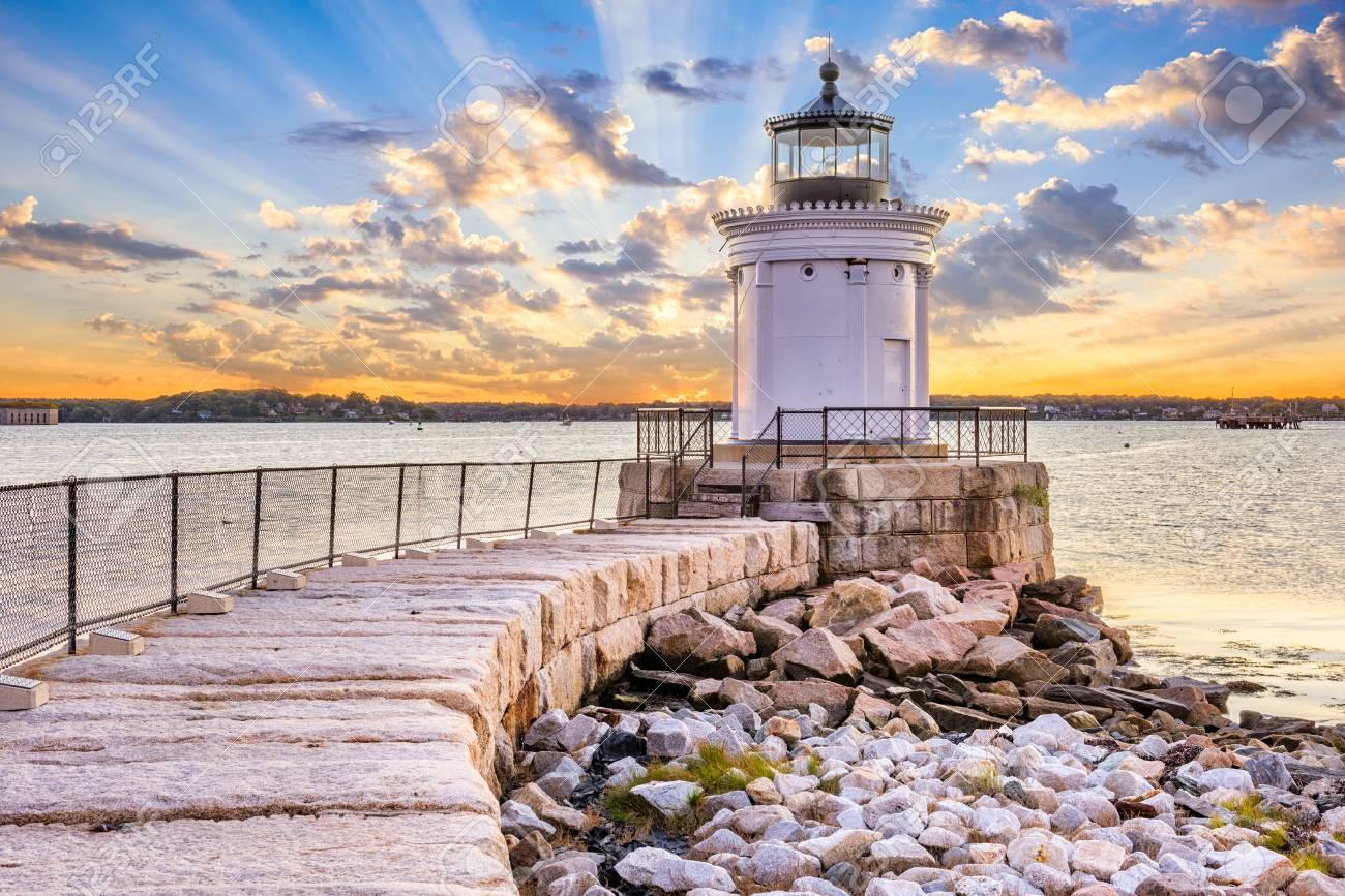 South Portland, Maine, USA at the Portland Breakwater Light. - 90362244