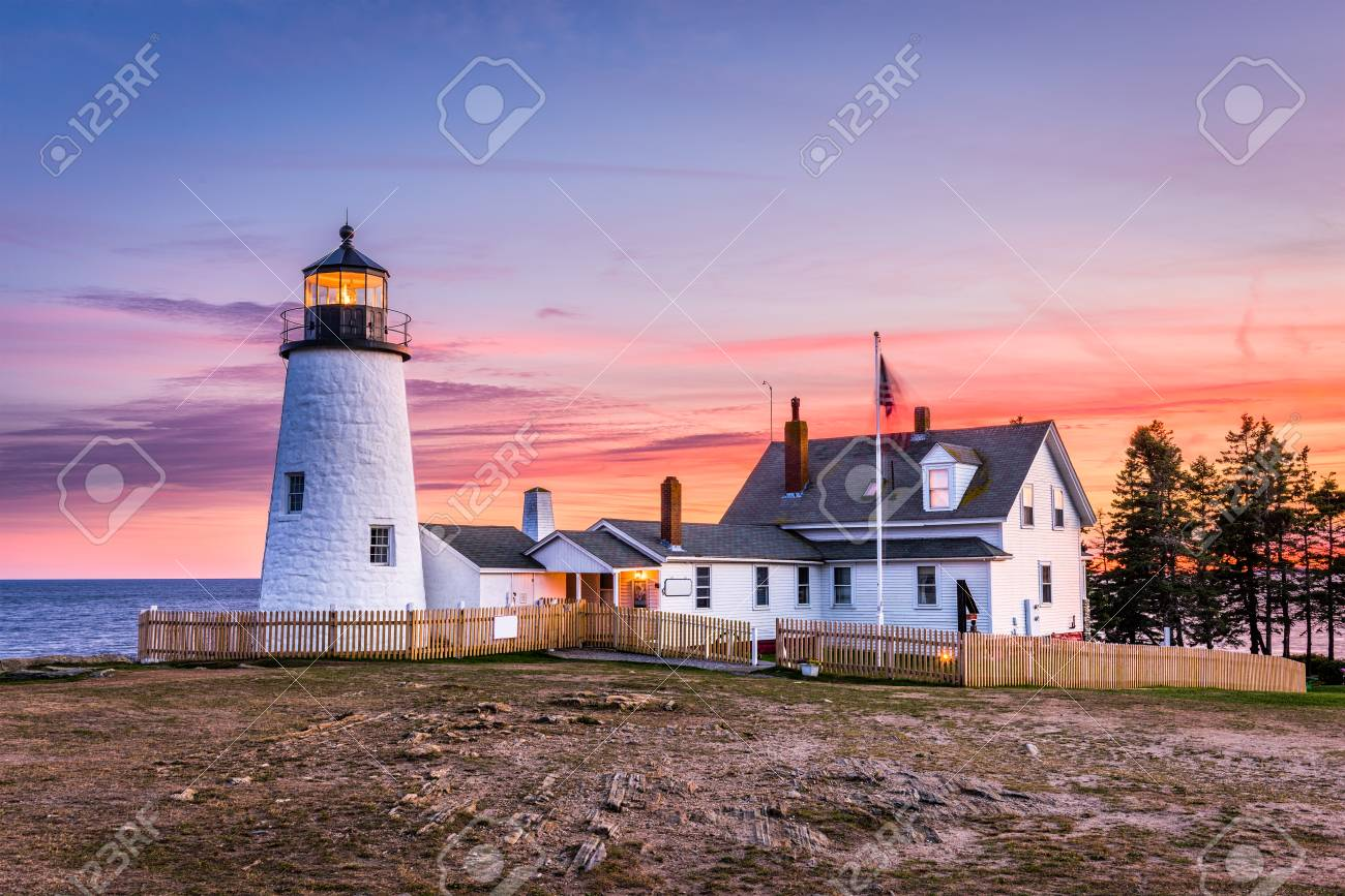 Pemaquid Point Light In Bristol, Maine, USA. Stock Photo   90421319