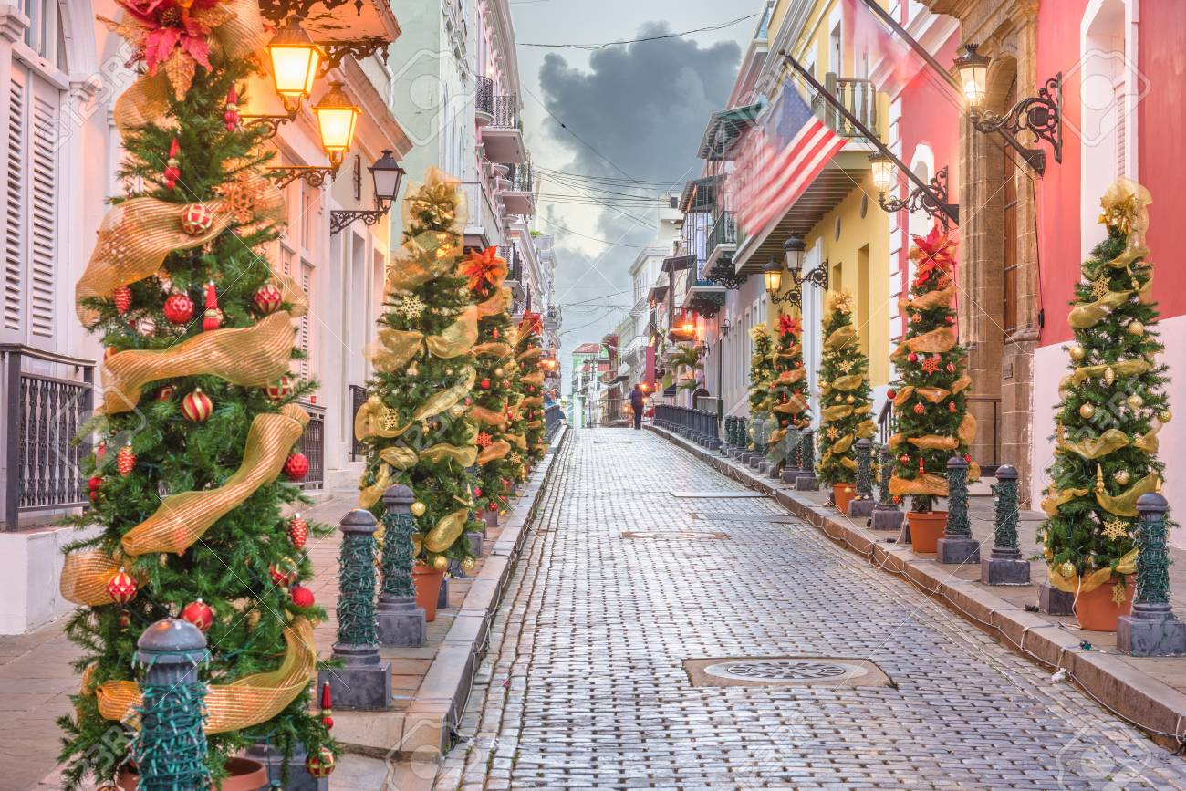 Christmas In Puerto Rico.San Juan Puerto Rico Christmas Tree Lined Road In The Old Town