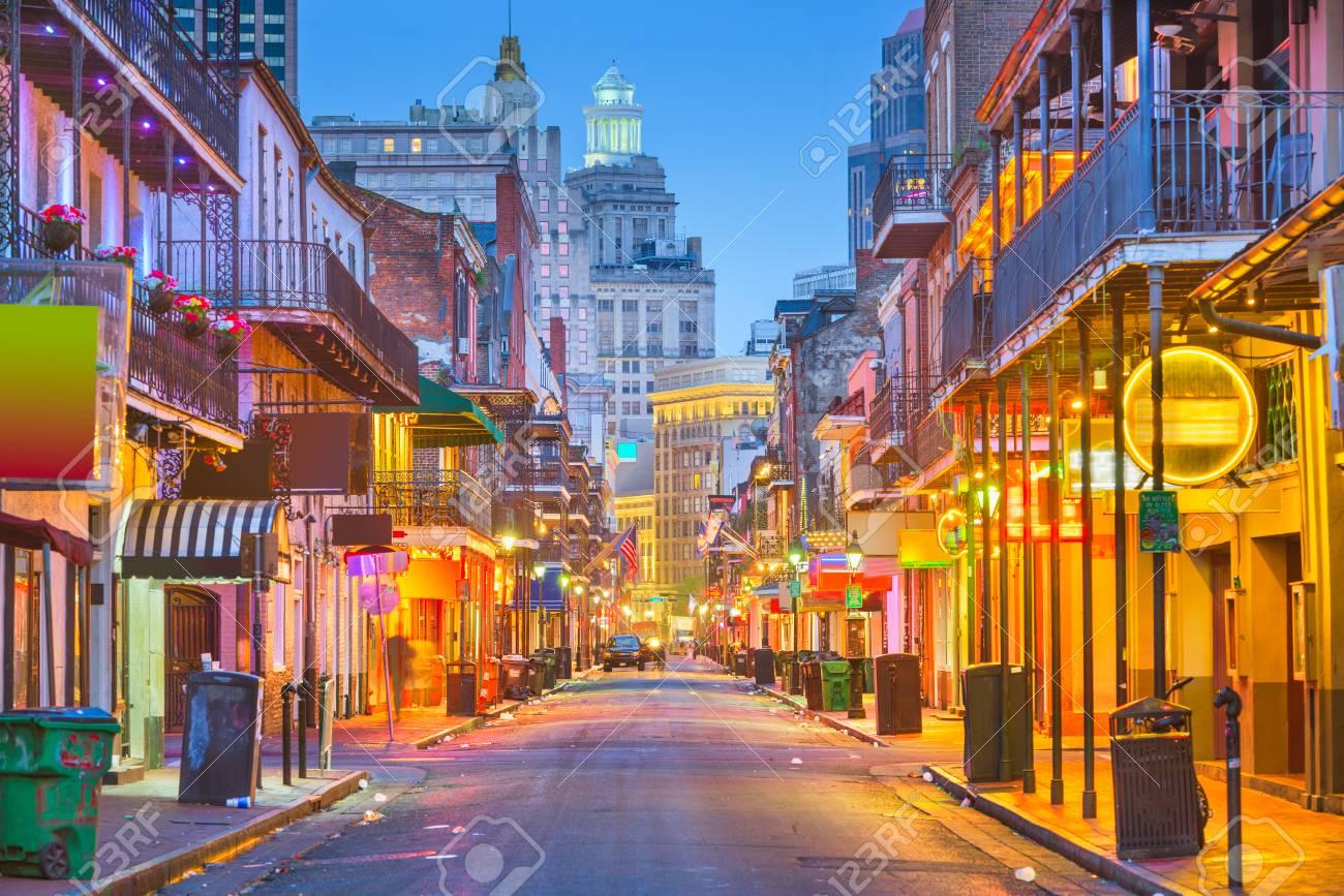 Bourbon St, New Orleans, Louisiana, USA cityscape of bars and restaurants at twilight. - 123003258