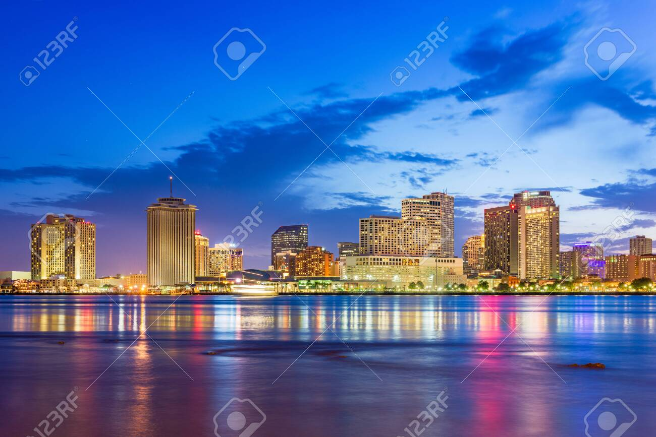 New Orleans, Louisiana, USA downtown city skyline on the Mississippi River at dusk. - 123004830