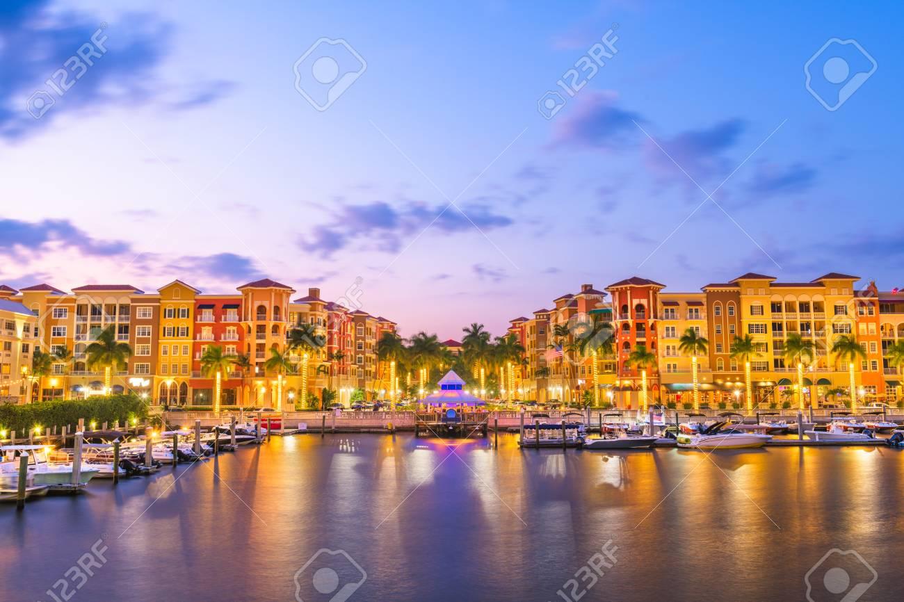 Naples, Florida, USA downtown skyline at dusk. - 125220553