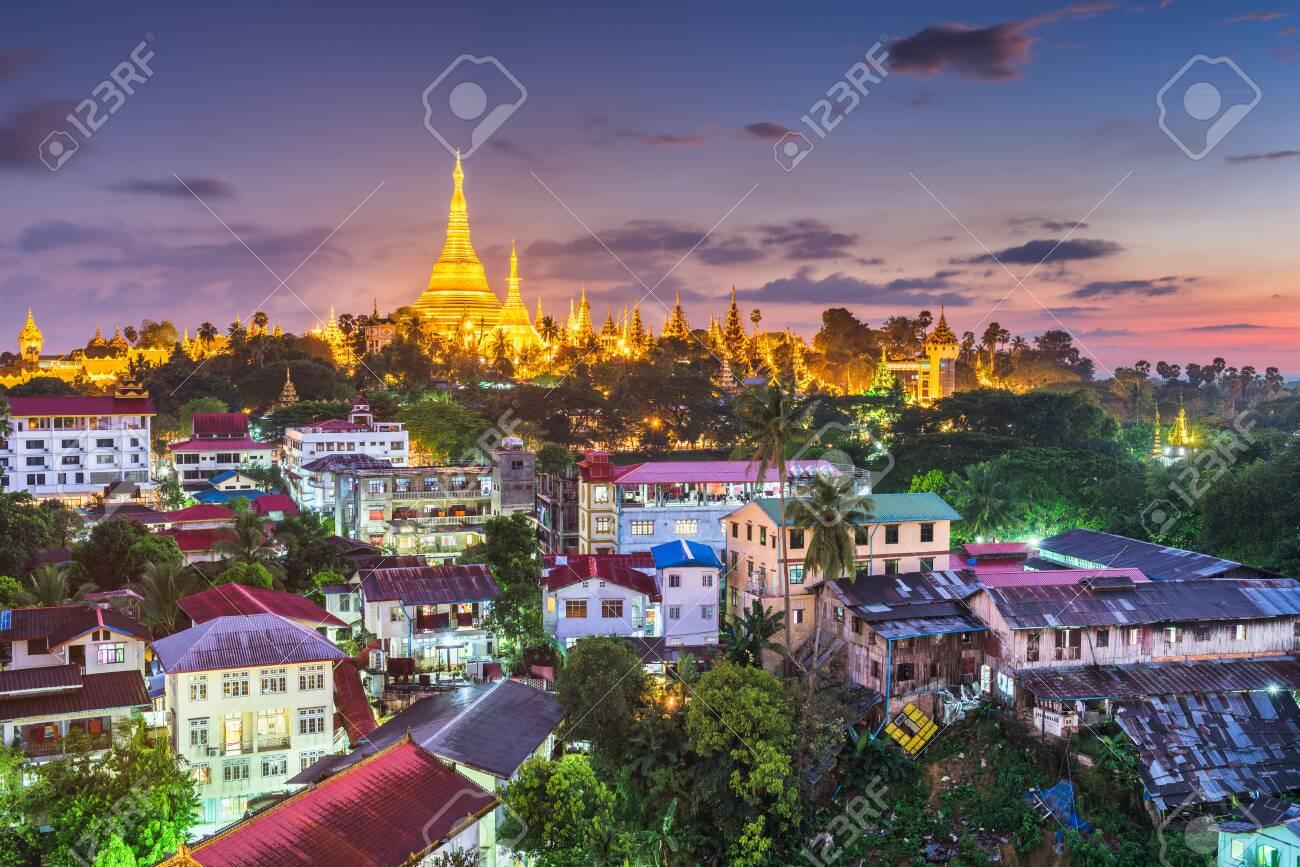 Yangon, Myanmar view of Shwedagon Pagoda at dusk. - 146674012