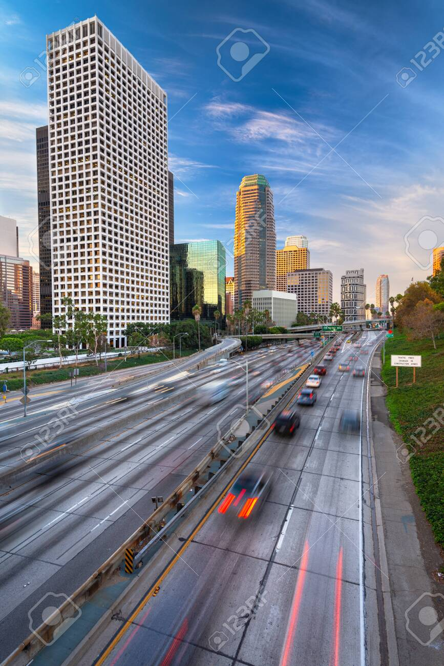 Los Angeles, California, USA Downtown Skyline and Highways - 151094259