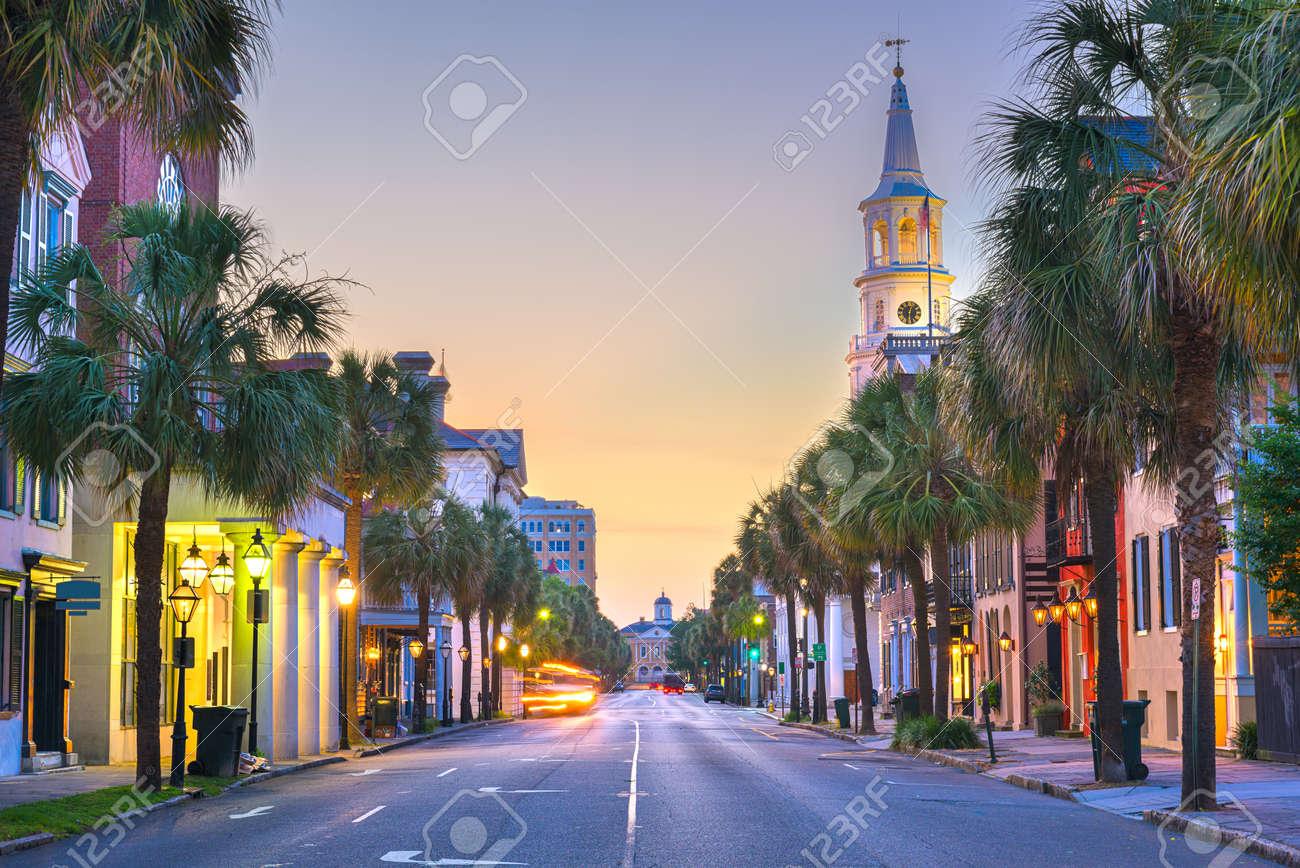 Charleston, South Carolina, USA in the French Quarter at twilight. - 159143396