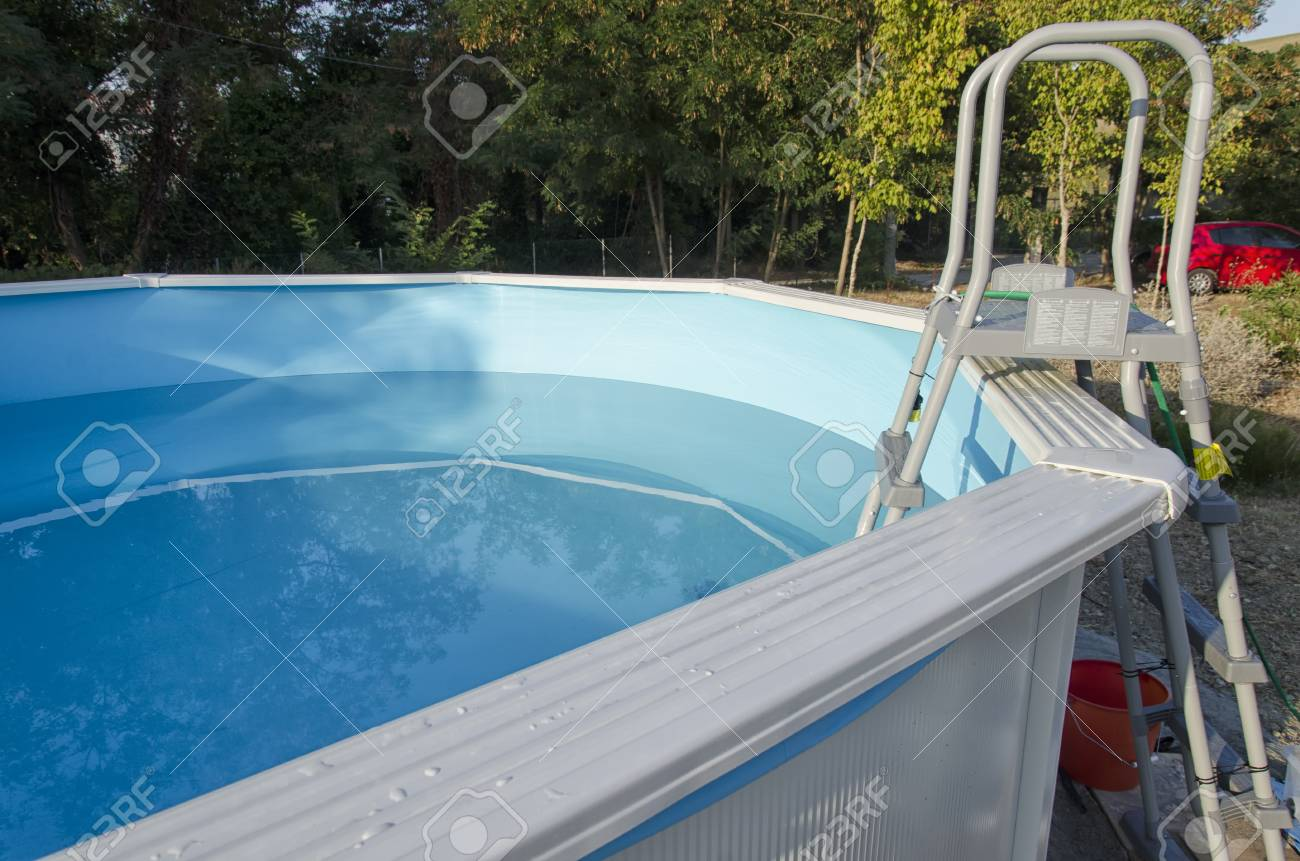 View Of Metal Frame Swimming Pool Ready For A Bath Stock Photo ...
