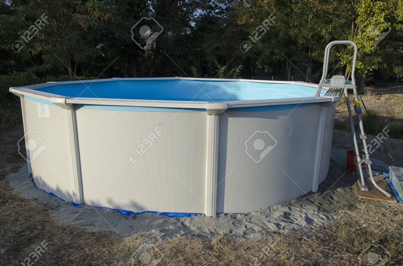 View Of A Metal Steel Frame Pool Stock Photo, Picture And Royalty ...
