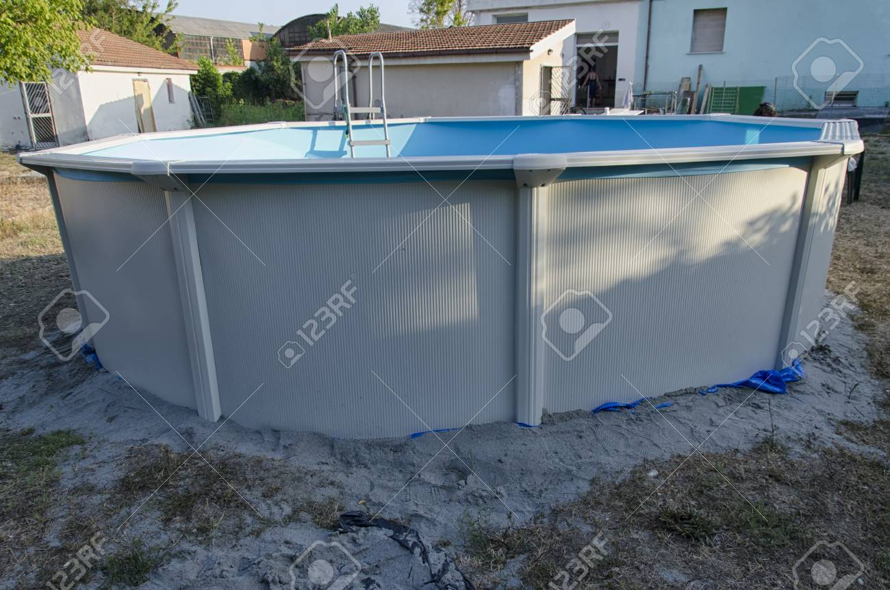 View of a metal steel frame swimming pool just mounted