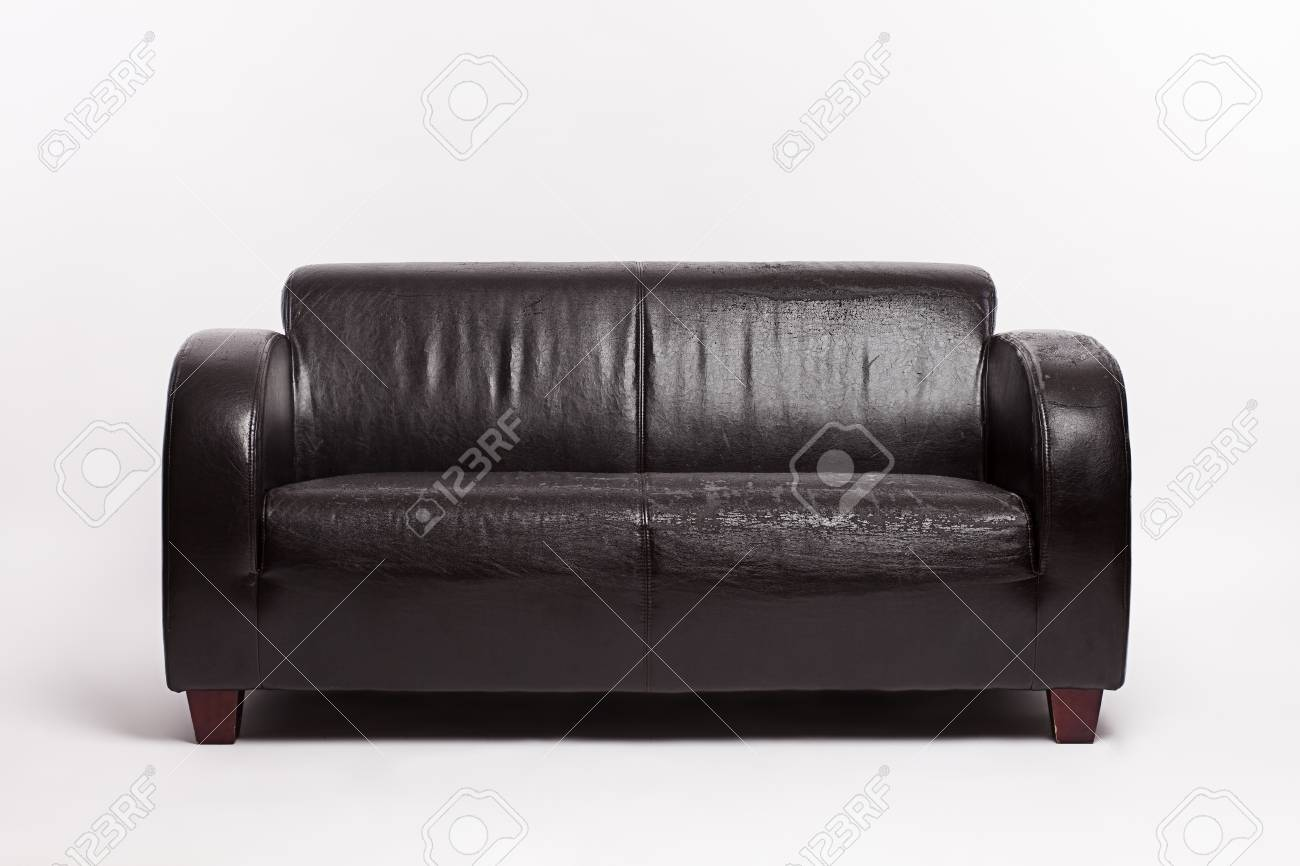 Old leather couch on white background