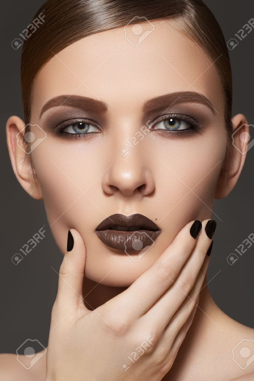 Fashion Style, Manicure, Cosmetics And Make-up. Dark Lips Makeup ...