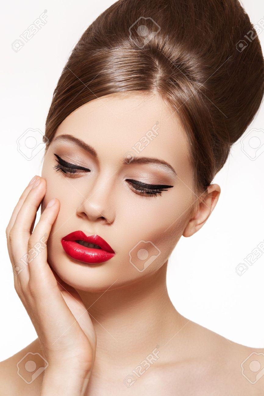 Schönes Porträt Von Sinnlichen Europäischen Junge Frau Modell Mit