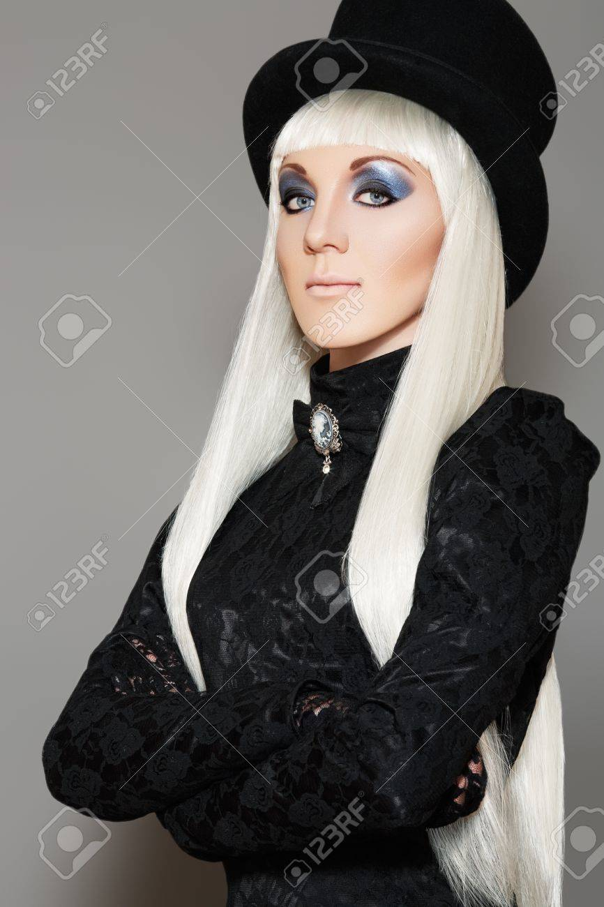 Black dress retro - Chic Aristocratic Woman In Retro Style Black Dress And Beaver Hat Long Blond Straight Hair