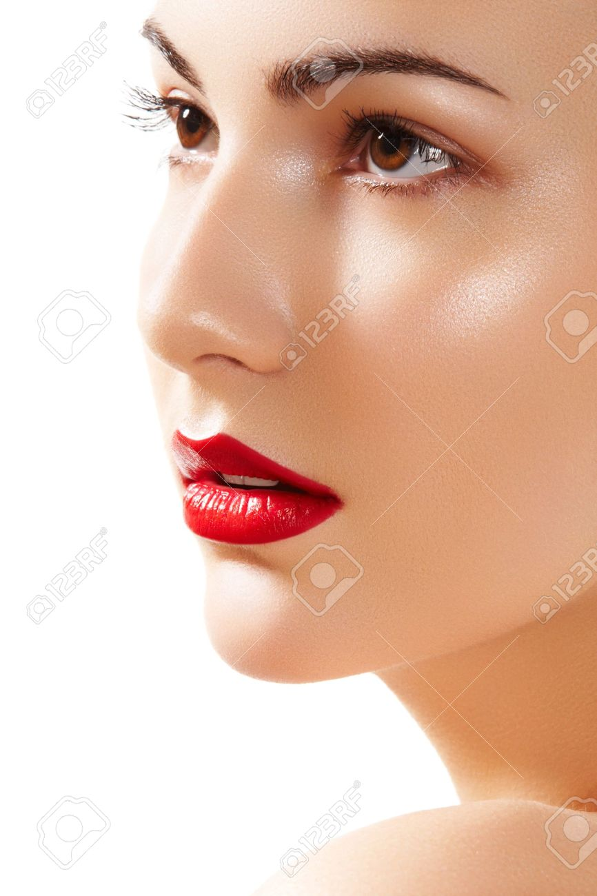 close up portrait of beautiful woman u0027s purity face with bright