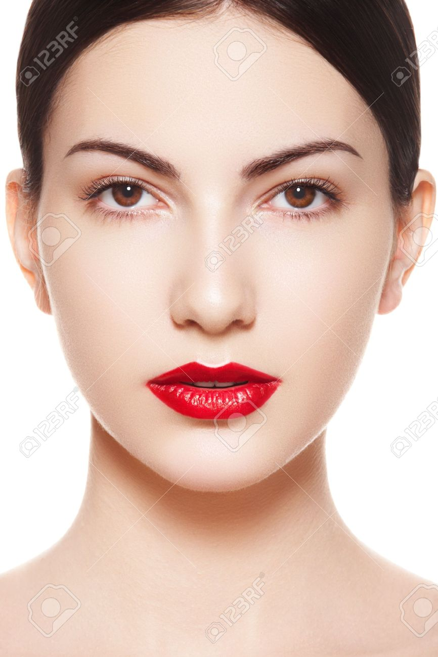 Closeup Portrait Of Sexy Caucasian Young Model With Glamour Red Lips Make  Up Closeup Portrait Of