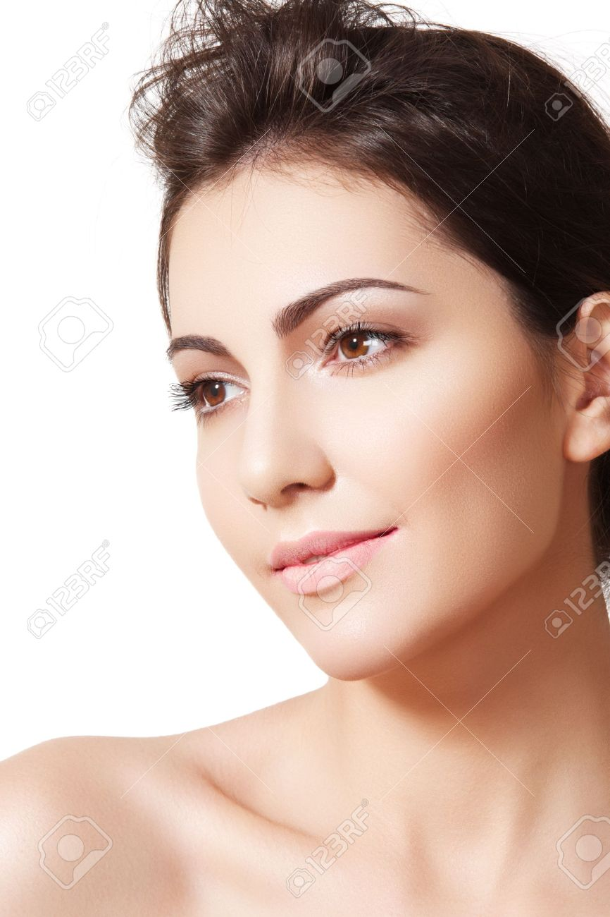 Beauty, wellness, cosmetics, spa, healthcare and skincare. Beautiful woman model face with natural make-up, shiny complexion, soft clean skin. Daily look Stock Photo - 11572502