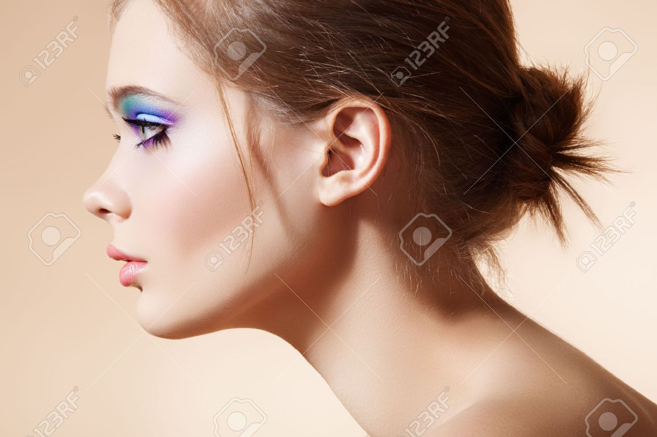 Beautiful Profile View Of Female Model Face With Bright Fashion Stock Photo Picture And Royalty Free Image Image 11540659