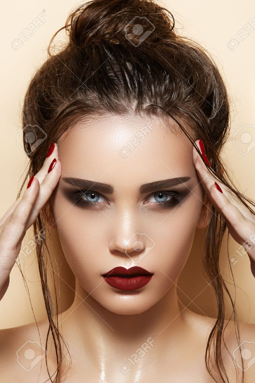 f01f12789 ... Beautiful fashion portrait of glamour female face. Hot young woman model  with sexy bright red lips makeup