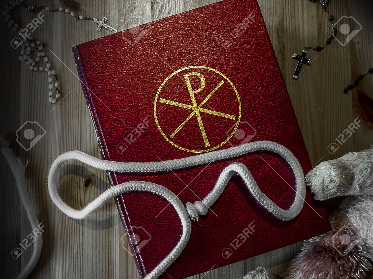 Bible with rosary and Teddy Stock Photo - 17329806