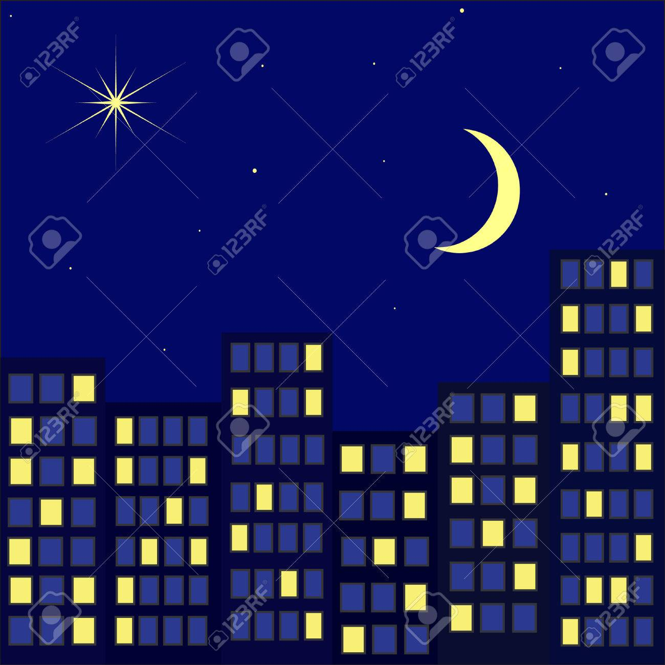 Night city against the star sky with a month Stock Vector - 8915684