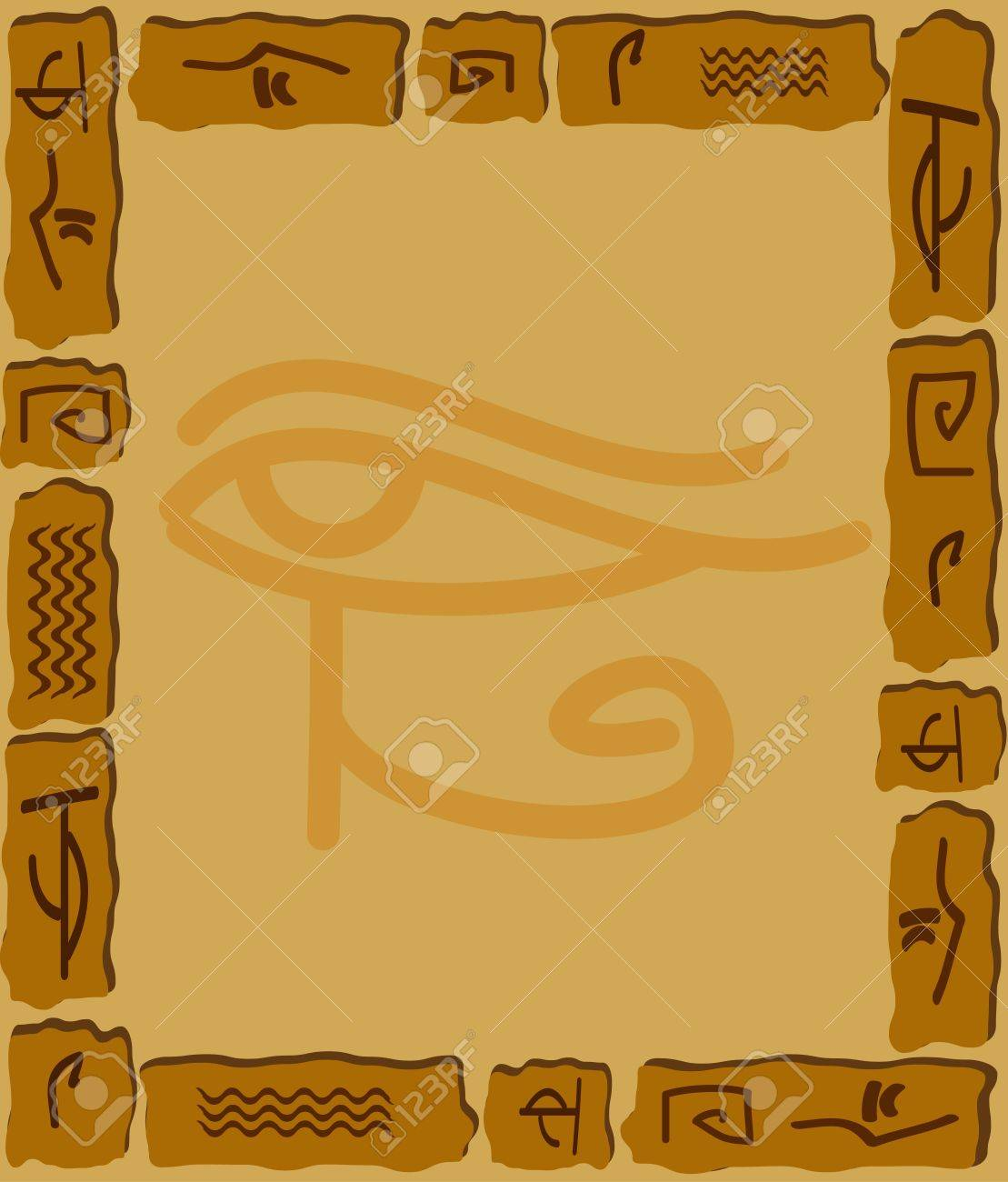 Ornament from stones and the Egyptian hieroglyphs Stock Vector - 9352230