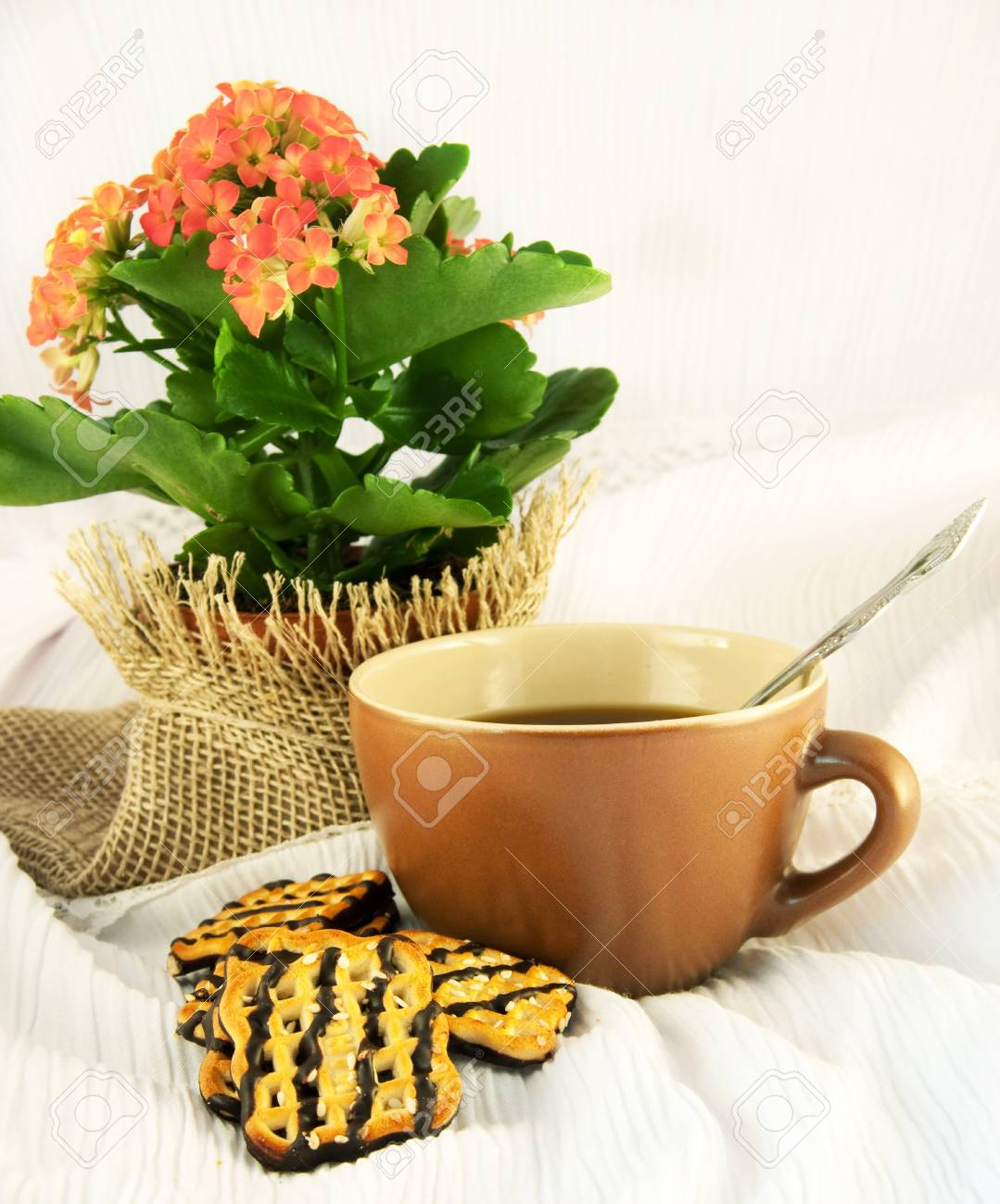 Tasty fruitcake and cup of coffee, natural flowers Stock Photo - 12662217