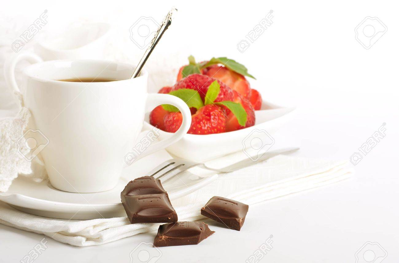 Strawberry with a mint and cup of coffee, chocolate Stock Photo - 14209142
