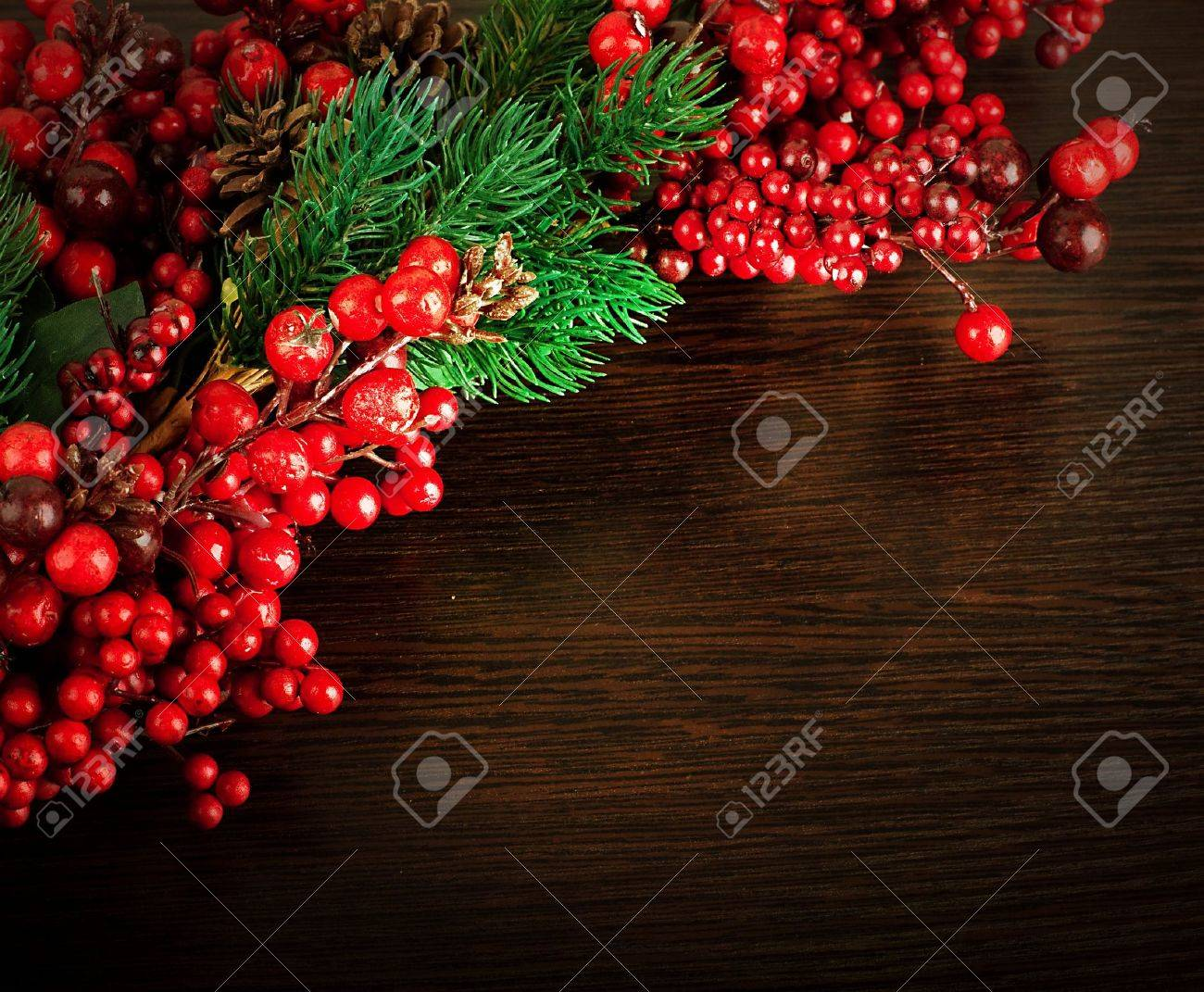Christmas wreath from red berries, a fur-tree and cones Stock Photo - 15281806