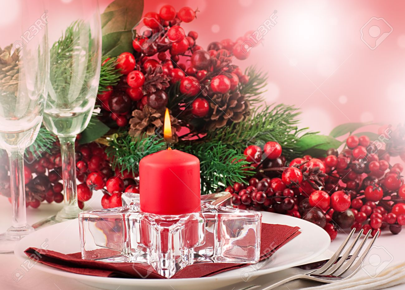 Christmas table layout, multi-colored tape with a branch of berries Stock Photo - 15543940