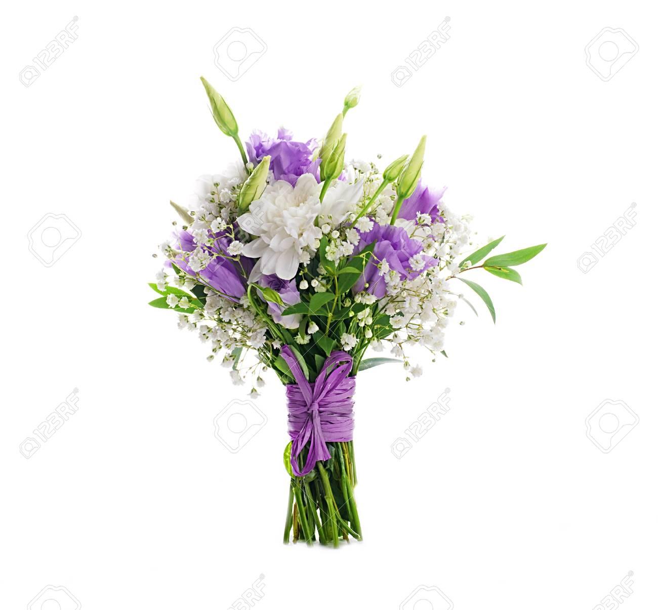 époustouflant Bouquet De Mariée De Fleurs Blanches Et Roses Banque D'Images Et #VM_22