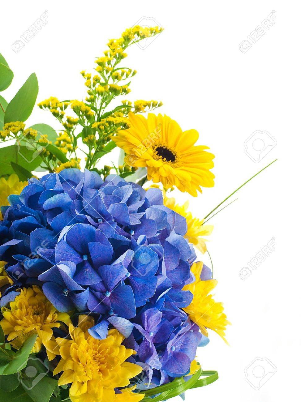 Bouquet Fiori Gialli.Bouquet From Blue Hydrangeas And Yellow Asters A Flower