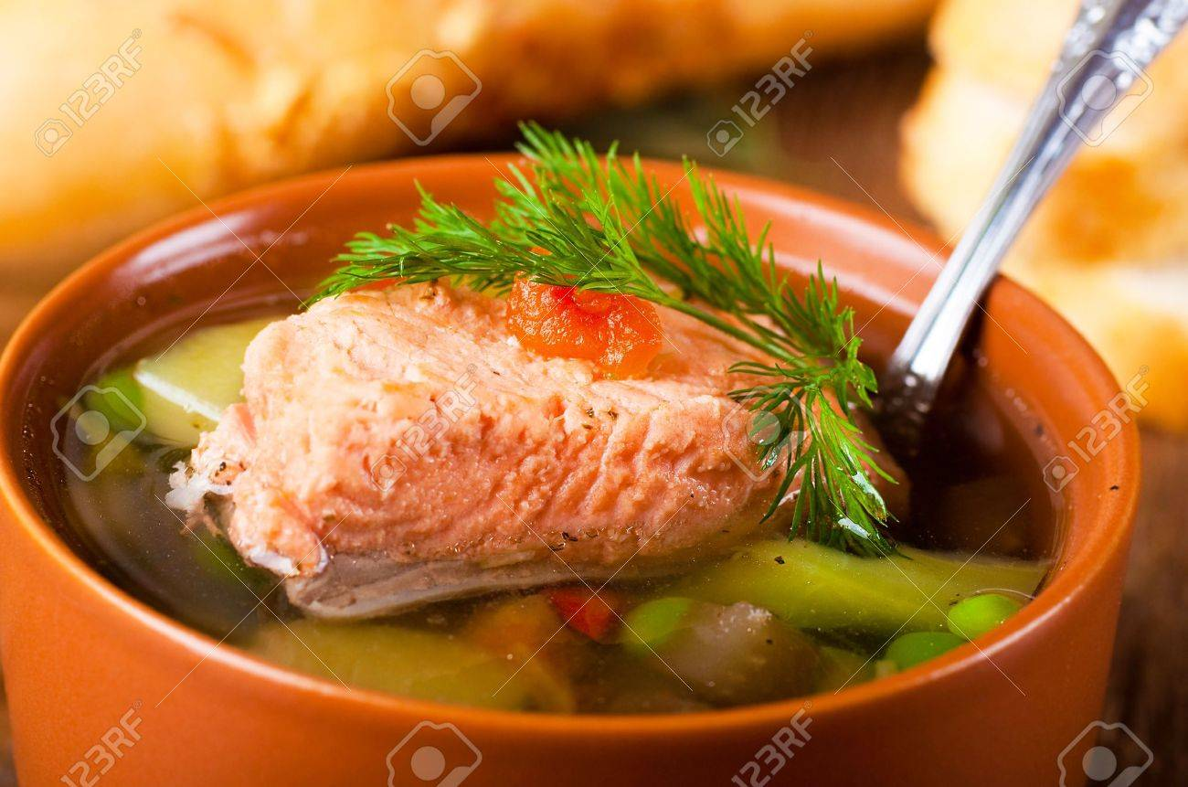 Fish a trout soup and bread with fennel Stock Photo - 17441833