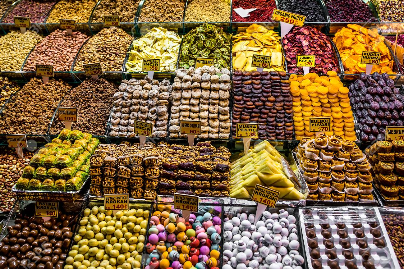 Spices, Teas At The Bazaar. The Turkish Market. Stock Photo, Picture And  Royalty Free Image. Image 52100078.