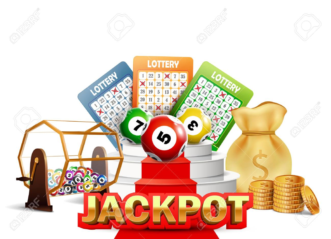 Lottery Jackpot With Tickets, Wheel, Coins And Balls