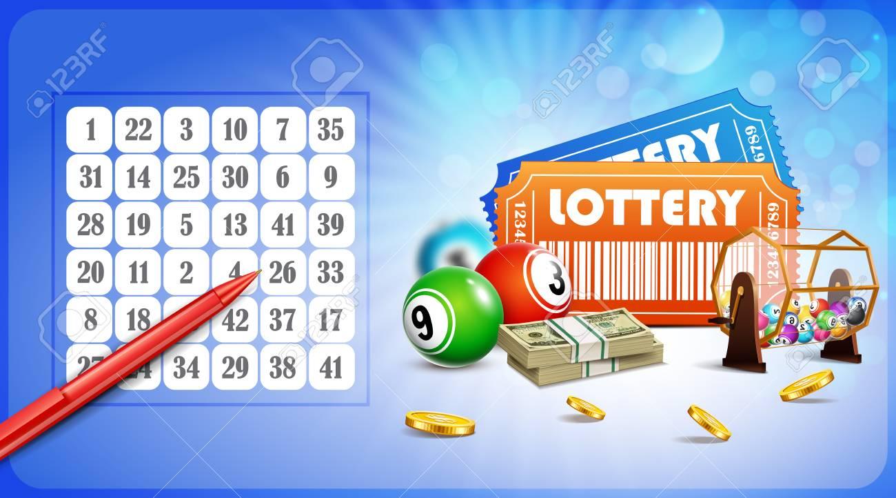 Loterie Jackpot Avec Billets Roue Pieces De Monnaie Stylo Et Balles