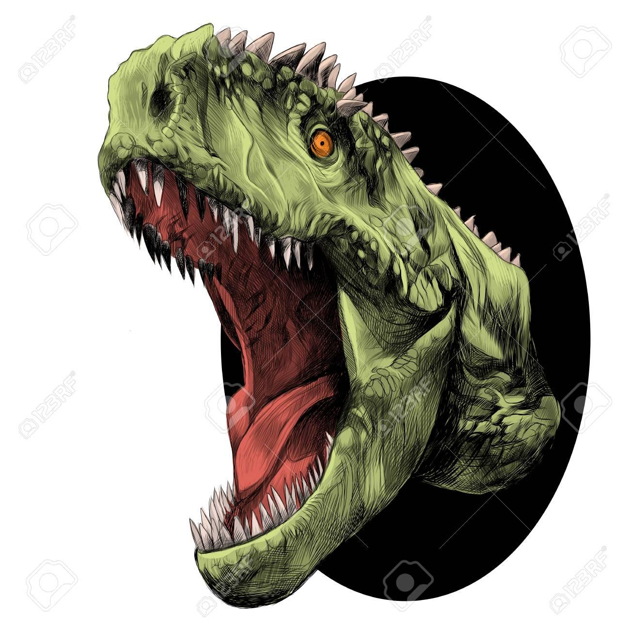 Cabeza De Dinosaurio Con Boca Abierta Gruñendo Saliendo Del Círculo ...