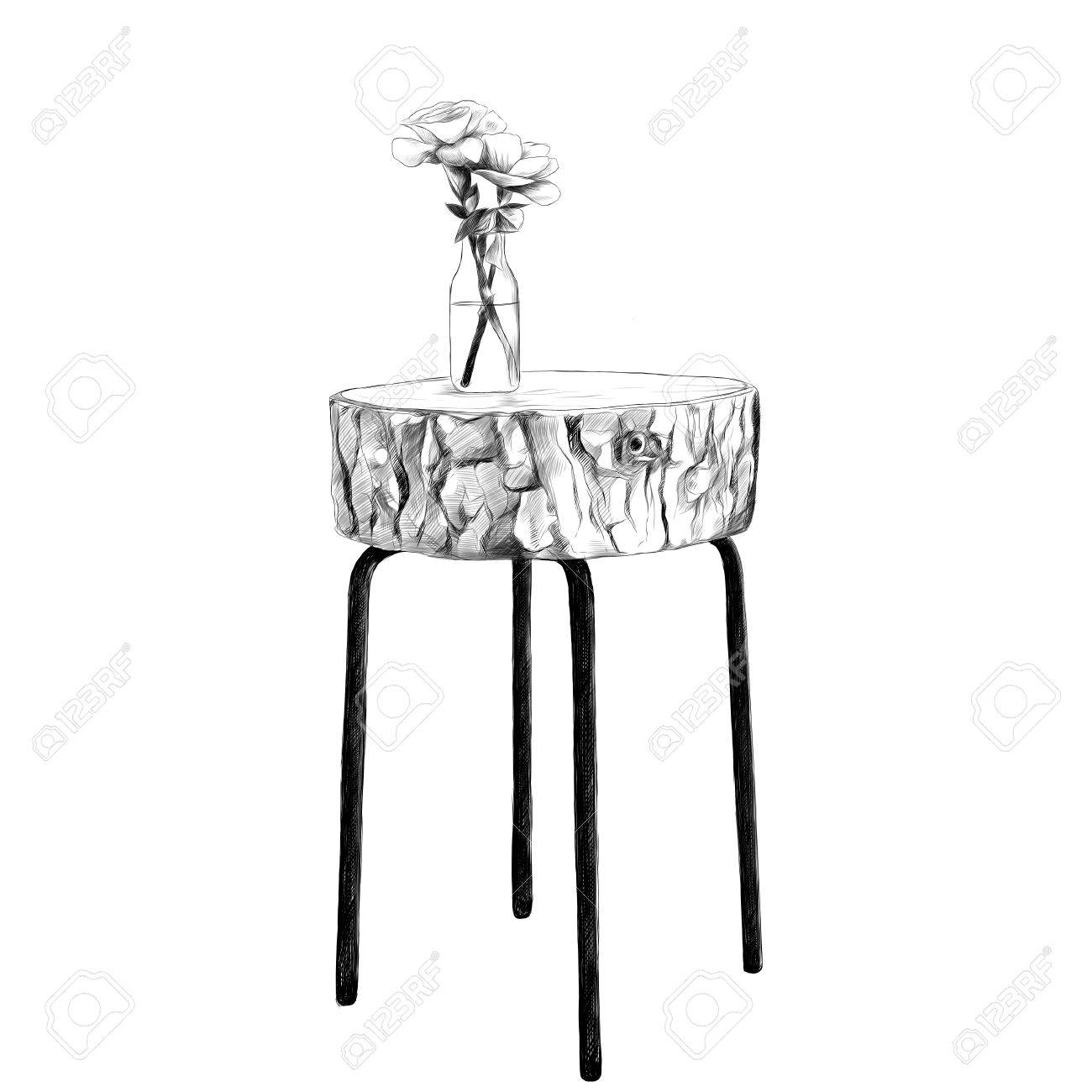 Decorative table with top made of logs with a vase and flowers decorative table with top made of logs with a vase and flowers sketch vector graphics black reviewsmspy